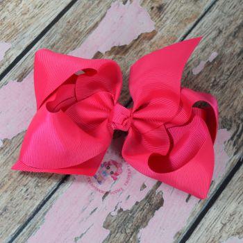 """6"""" Boutique Bow On Croc Clip ~ Vivid Pink"""