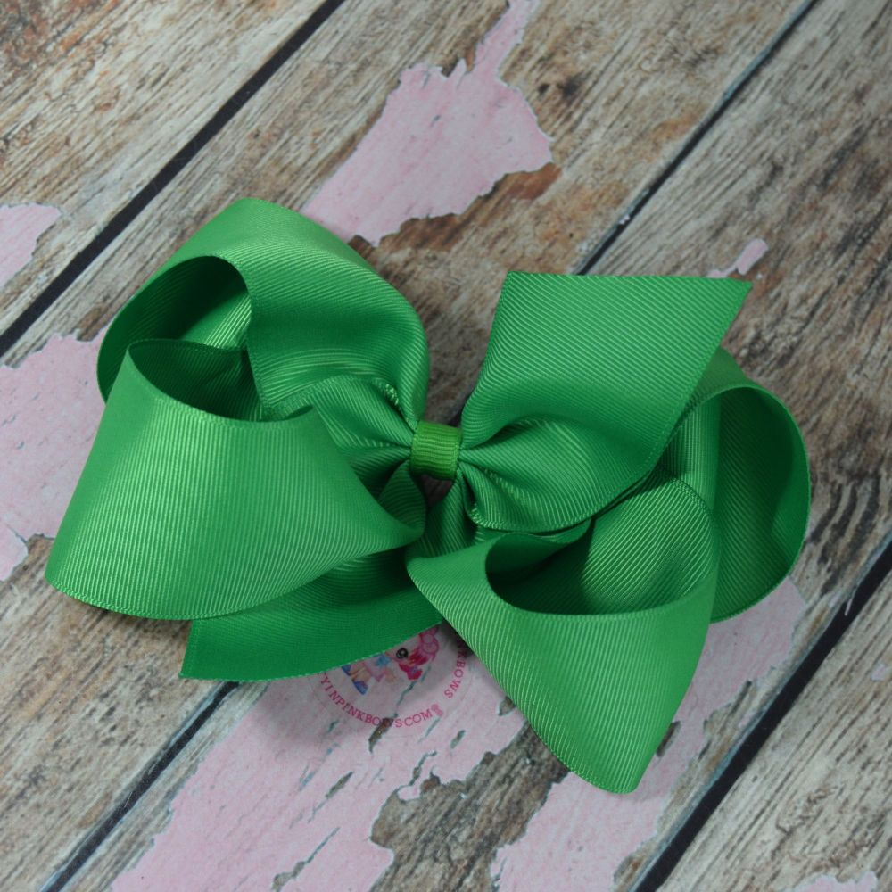 """6"""" Boutique Bow On Croc Clip ~ Classic Green"""