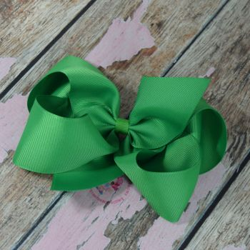 "6"" Boutique Bow On Croc Clip ~ Classic Green"