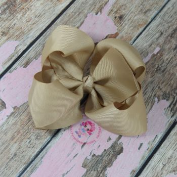"6"" Boutique Bow On Croc Clip ~ Candied Ginger"