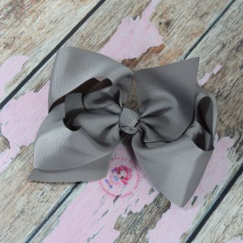 "6"" Boutique Bow On Croc Clip ~ Silver"