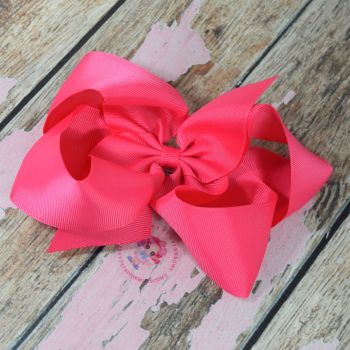 "6"" Boutique Bow On Croc Clip ~ Shocking Pink"