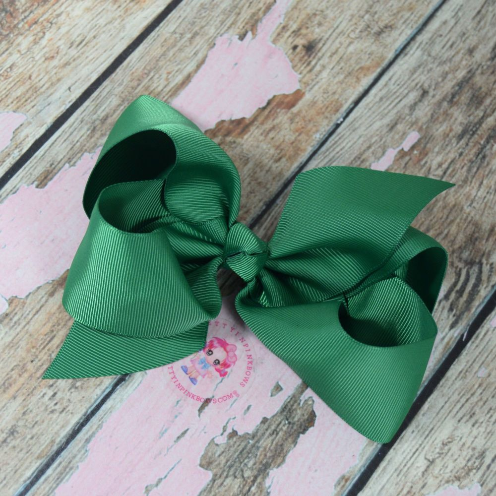 "6"" Boutique Bow On Croc Clip ~ Forrest Green"