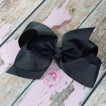 "6"" Boutique Bow On Croc Clip ~ Black"