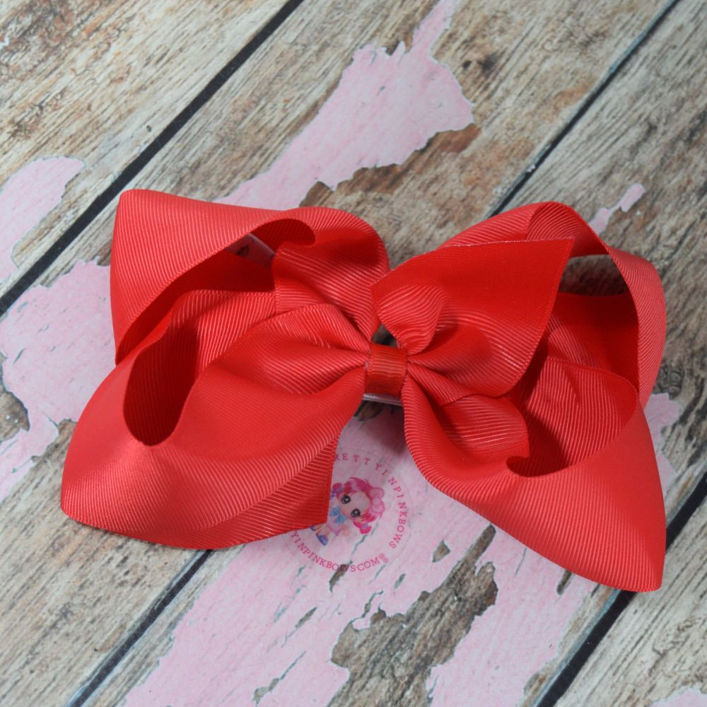 """6"""" Boutique Bow On Croc Clip ~ Poppy Red"""