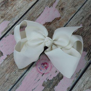 """6"""" Boutique Bow On Croc Clip ~ Antique white"""