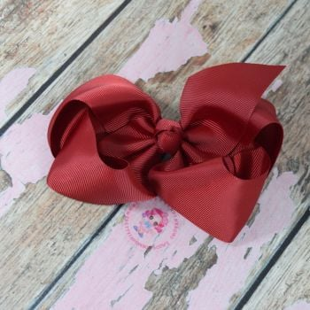 "6"" Boutique Bow On Croc Clip ~ Scarlet"