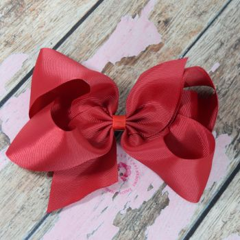 "6"" Boutique Bow On Croc Clip ~ Ruby"