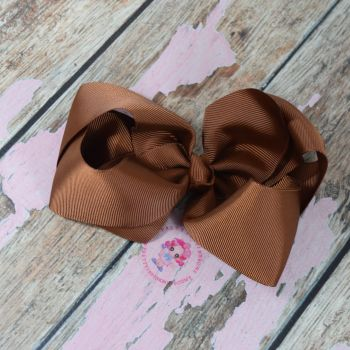 "6"" Boutique Bow On Croc Clip ~ Golden Brown"