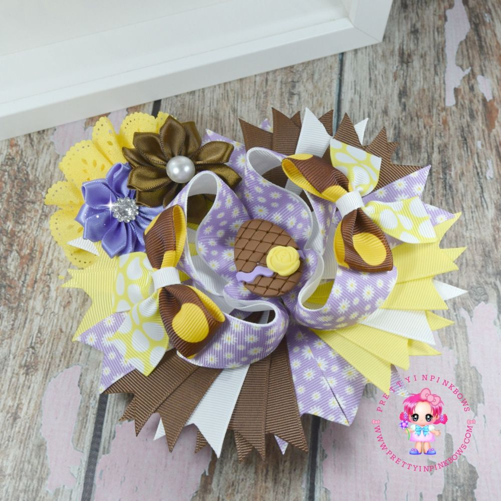 Easter Chocaholic Pagent Bow on Croc Clip
