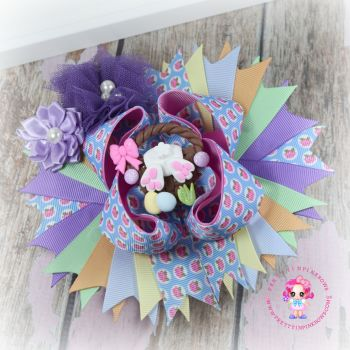 Easter Bunny Basket Pagent Bow On Croc Clip