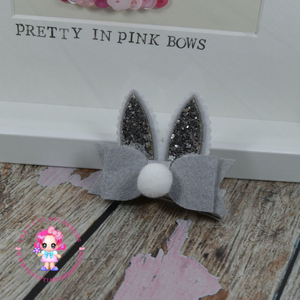 Easter Bunny Ears On Croc Clip in Silver
