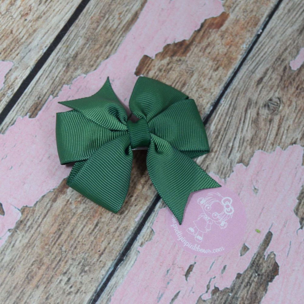 Forrest Green Pinwheel Bow on Croc Clip
