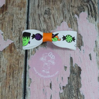 Minnie Bow Ghosts and candy On croc clip