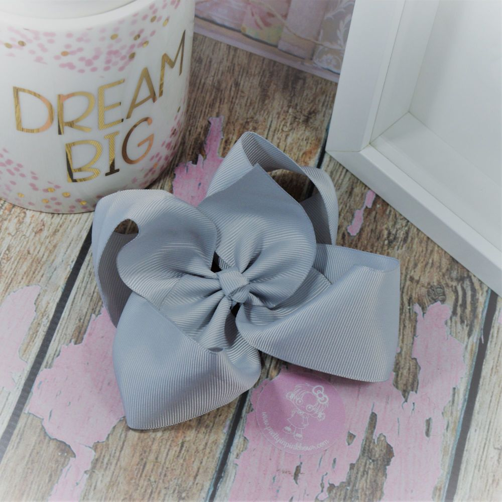 """6"""" Boutique Bow on croc clip - Shell Grey"""