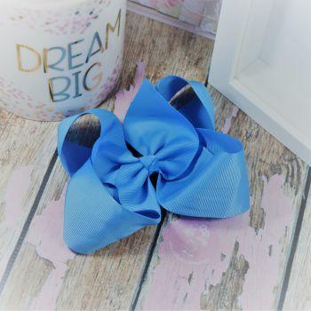 """6"""" Boutique Bow on croc clip - Porcelain Blue"""