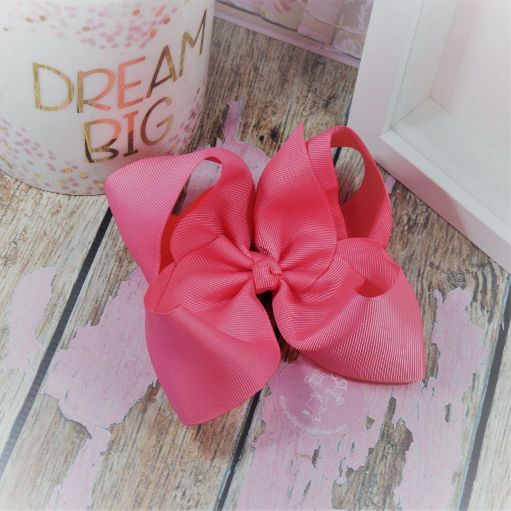 "6"" Boutique Bow on croc clip - Coral Rose"