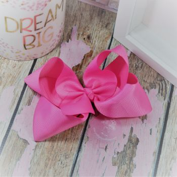 "6"" Boutique Bow on croc clip - Hot pink"