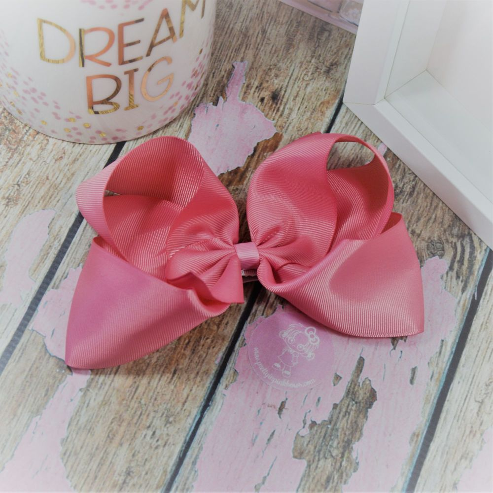 """6"""" Boutique Bow on croc clip - Dusty Rose"""