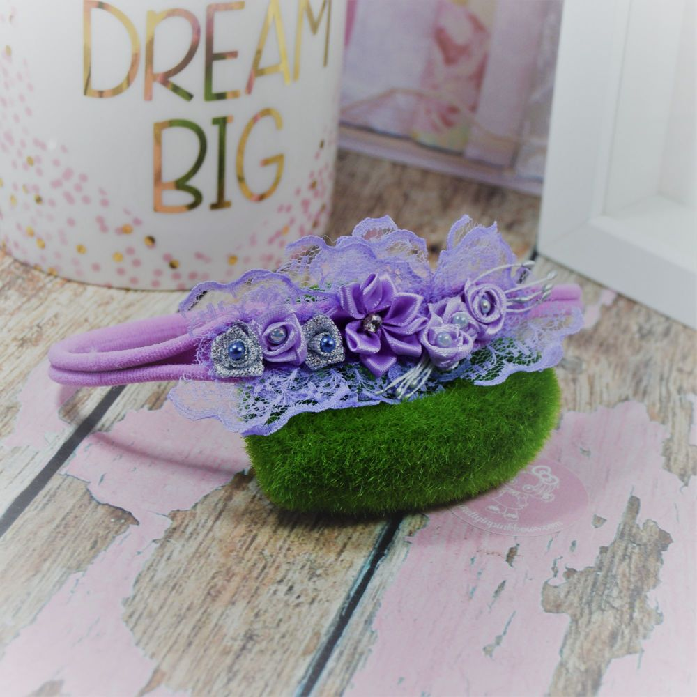 Flower and pearls Baby Band in lilac