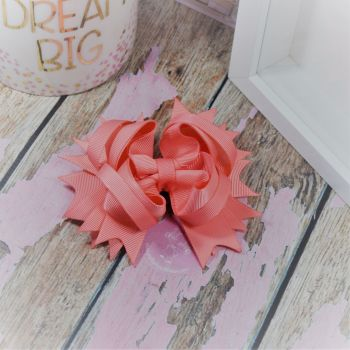 "4.5"" Plain Princess Bow ~ Light Coral"