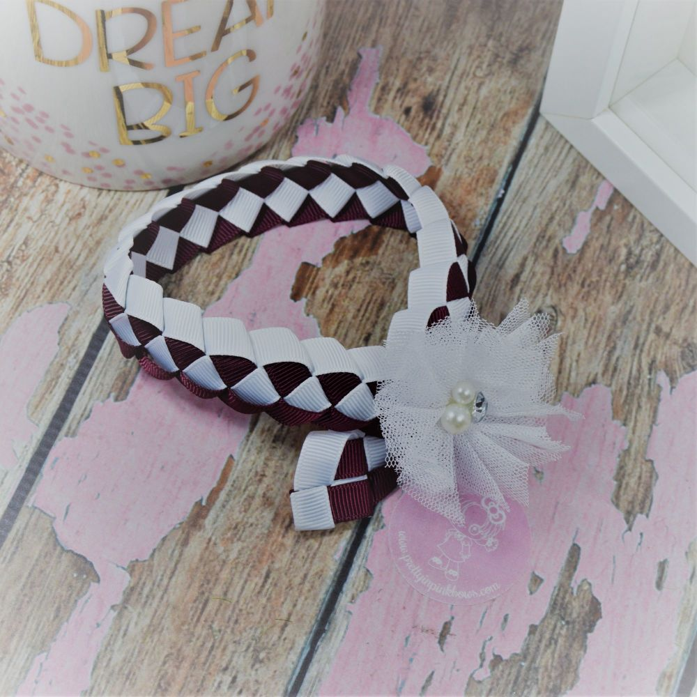 Medium Bun Wrap in Burgundy and White ~ With White Net Flower