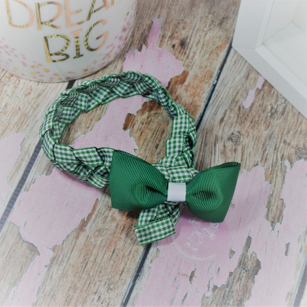 Medium Bun Wrap in Forrest Green Gingham and White ~ Minnie  Bow