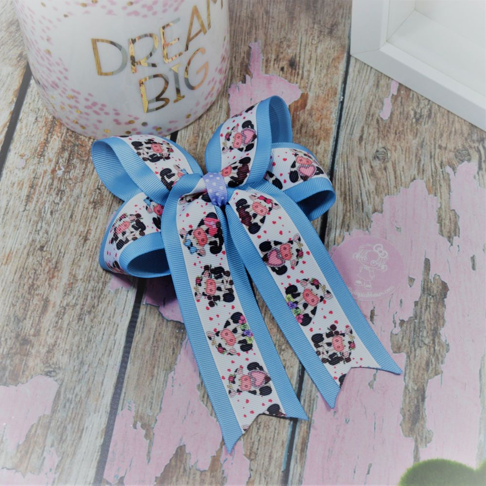 Double Loop Tails (DLT) Blue Moo Cows on Croc Clip