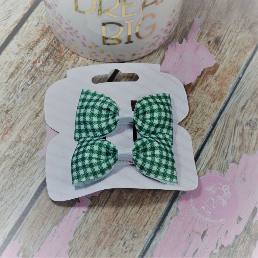 Minnie Bows in Forrest Green Gingham On Croc Clip