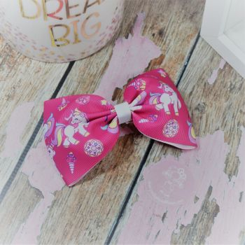 Large Minnie Bow Pink Unicorns and sweet things On Croc Clip