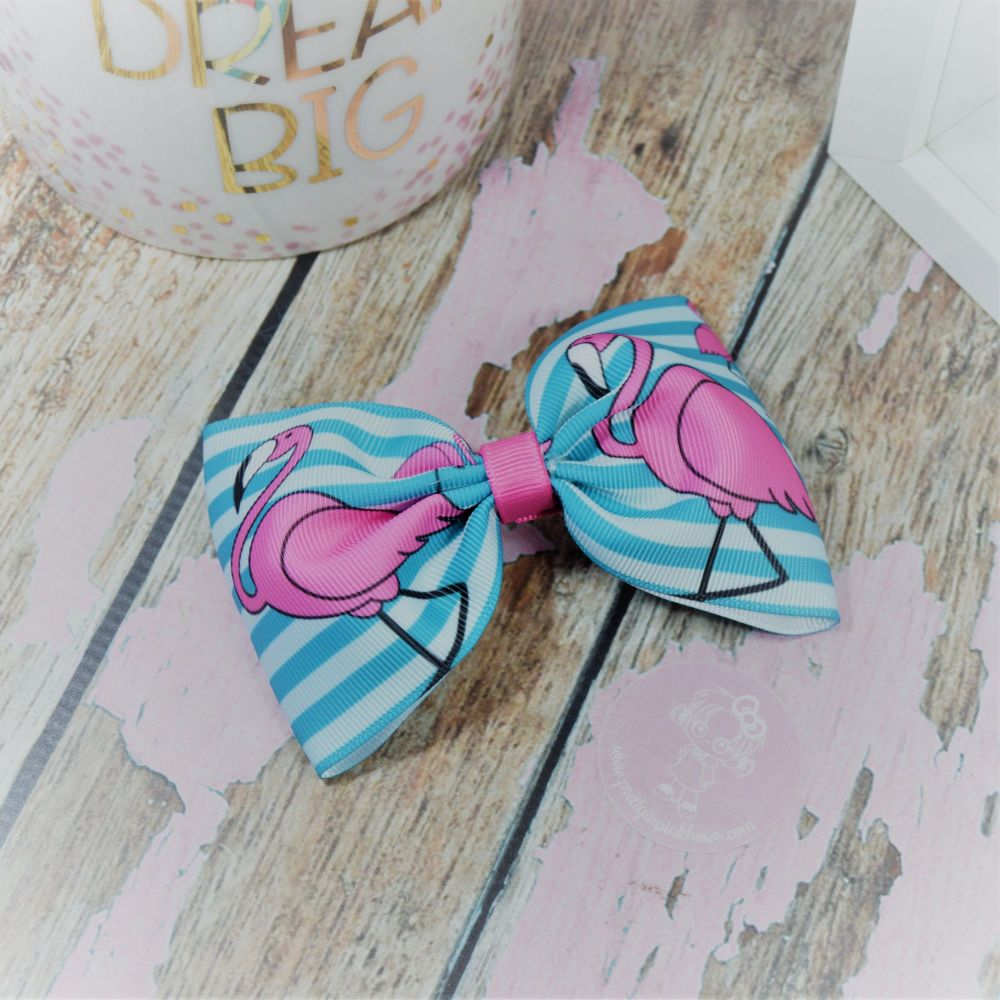 Large Minnie Bow Flamingo and stripes On Croc Clip