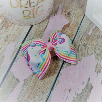 Large Minnie Bow Stripe unicorns On Croc Clip