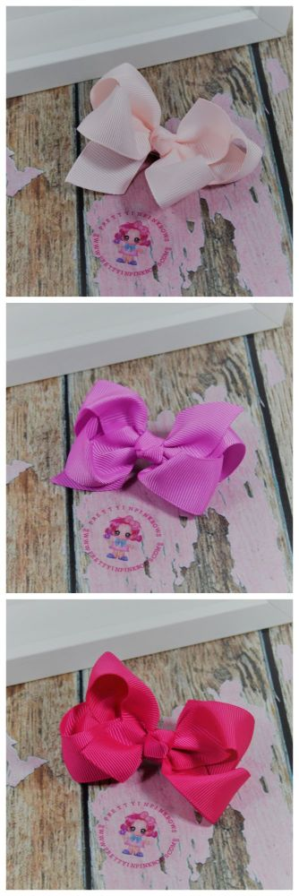 """3"""" Boutique Bow Icy Pink, Rose Bloom, Shocking Pink"""
