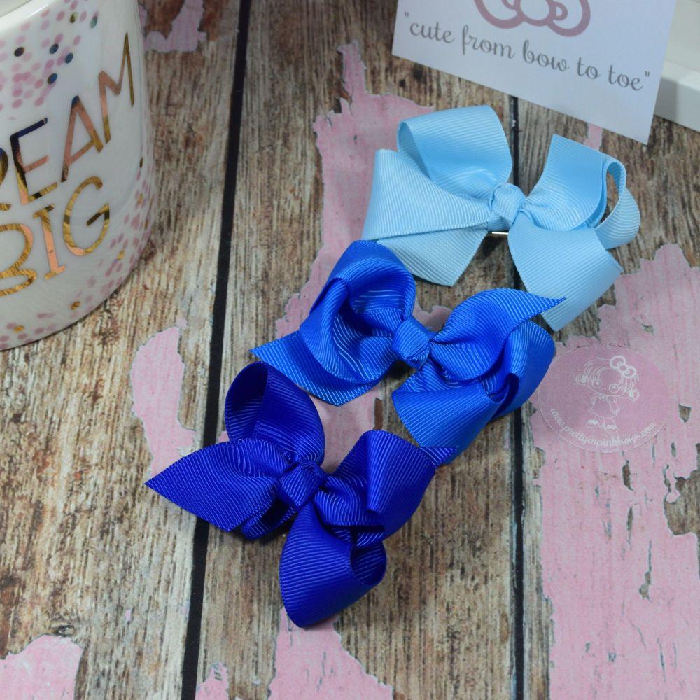 """3"""" Boutique Bows Light blue, Royal, Electric"""