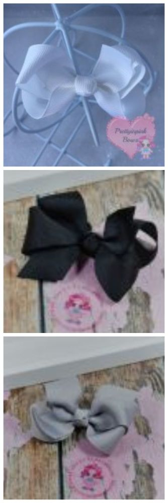 """3"""" Boutique Bow White, Black Shell Grey"""
