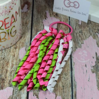 Long Korker -Pink polkadot Green and white