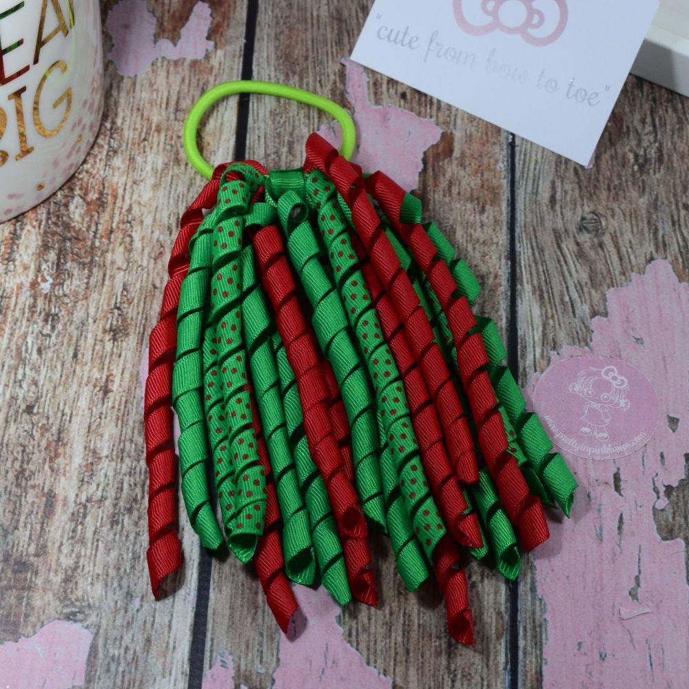 Long Korkers Xmas bobbles Green and Red Polkadot