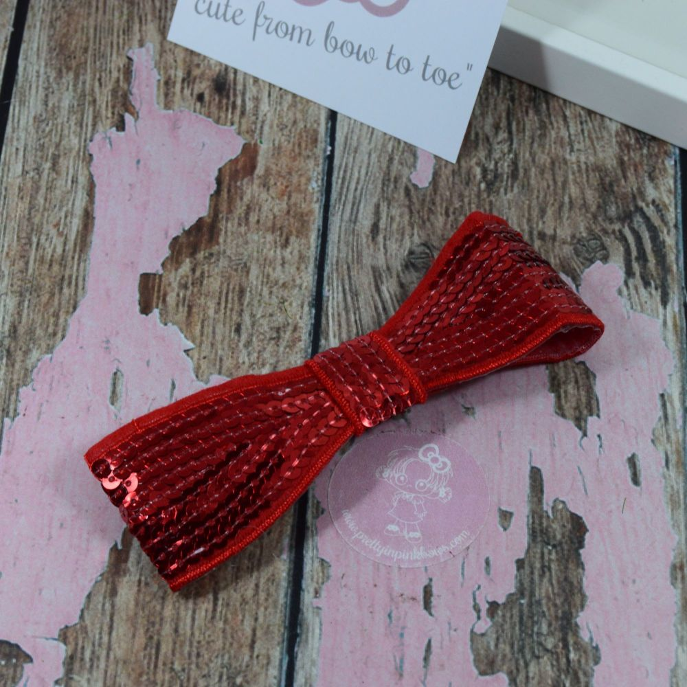 """5"""" Sequin Bow Red"""