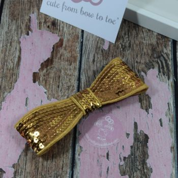 """5"""" Sequin Bow Gold"""