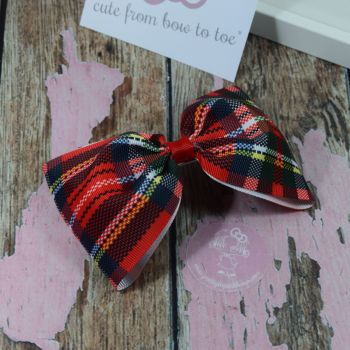 Large Minnie Bow Tartan with red centre
