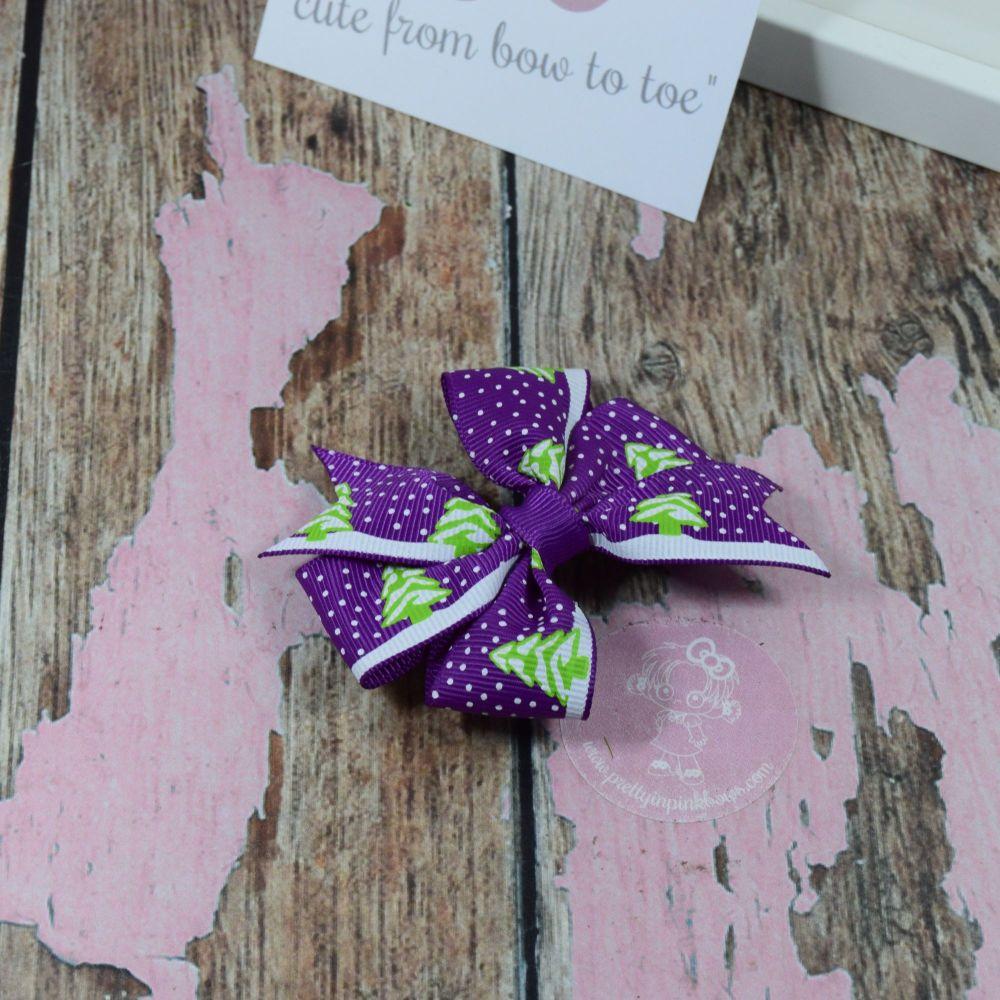 Xmas Pinwheel Purple Snow trees