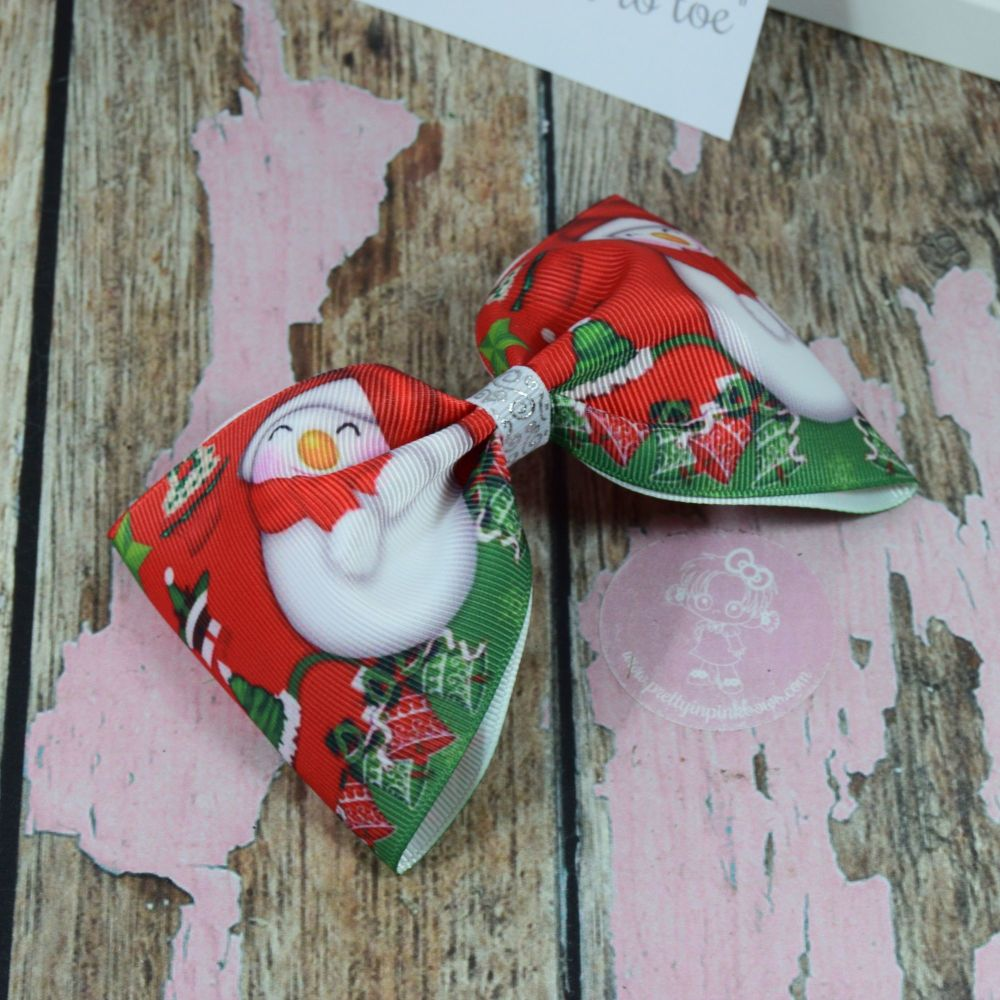 Large Minnie Bow Xmas Red Snowmen