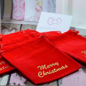 Merry Christmas velvet gift bags