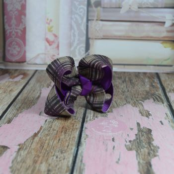 Double Layer Boutique Bow Tartan Purple Grey & Black