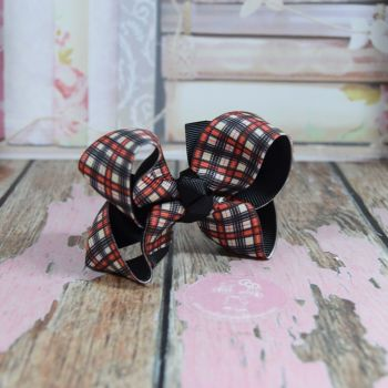 Double Layer Boutique Bow Tartan Red Off White & Black