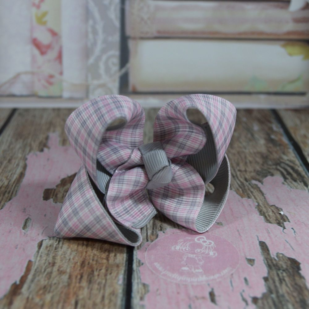 Double Layer Boutique Bow Tartan Light Pink Grey & White