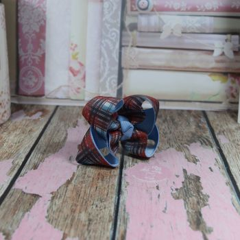 Double Layer Boutique Bow Tartan Red Navy & Blue