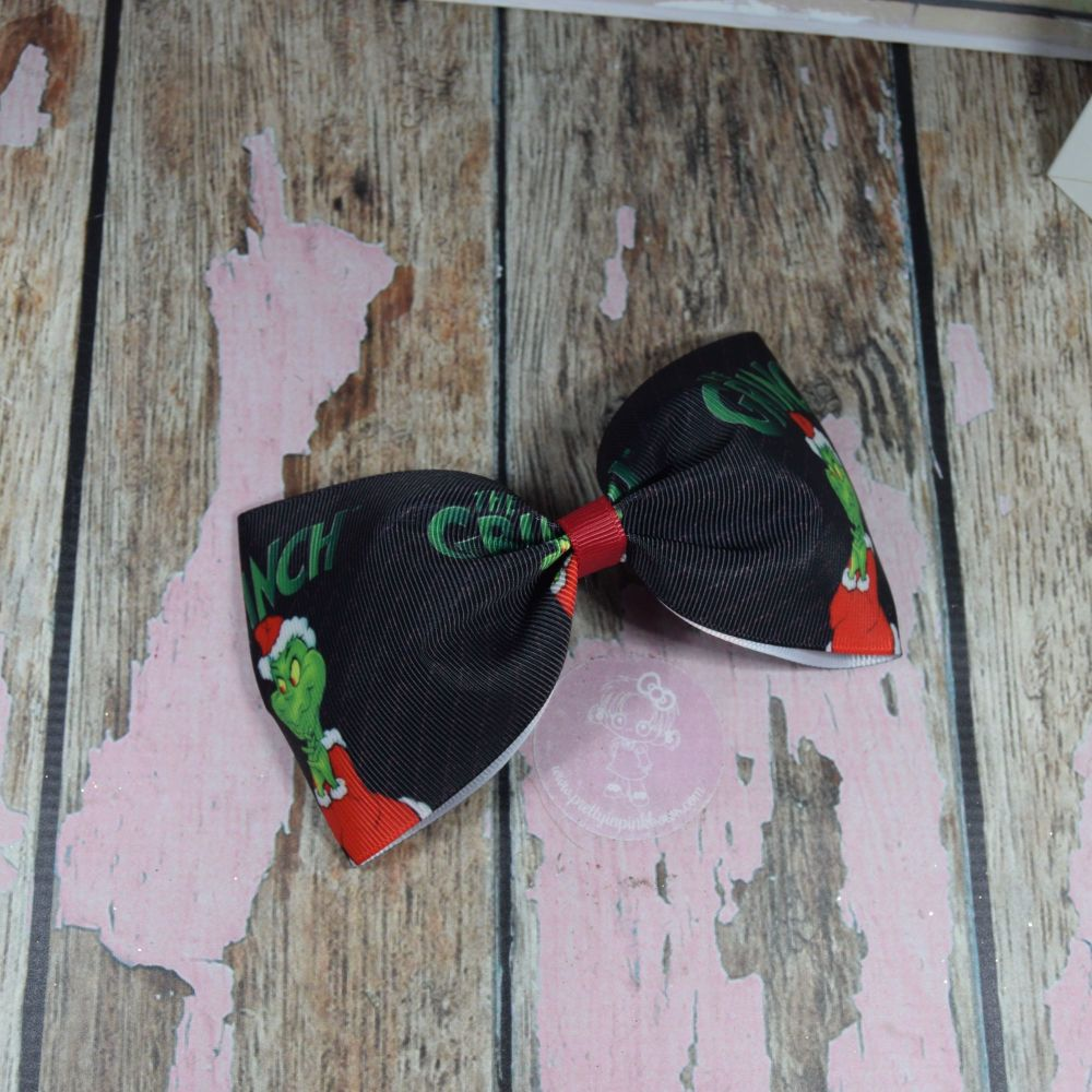 Black The Grinch Large Minnie Bow