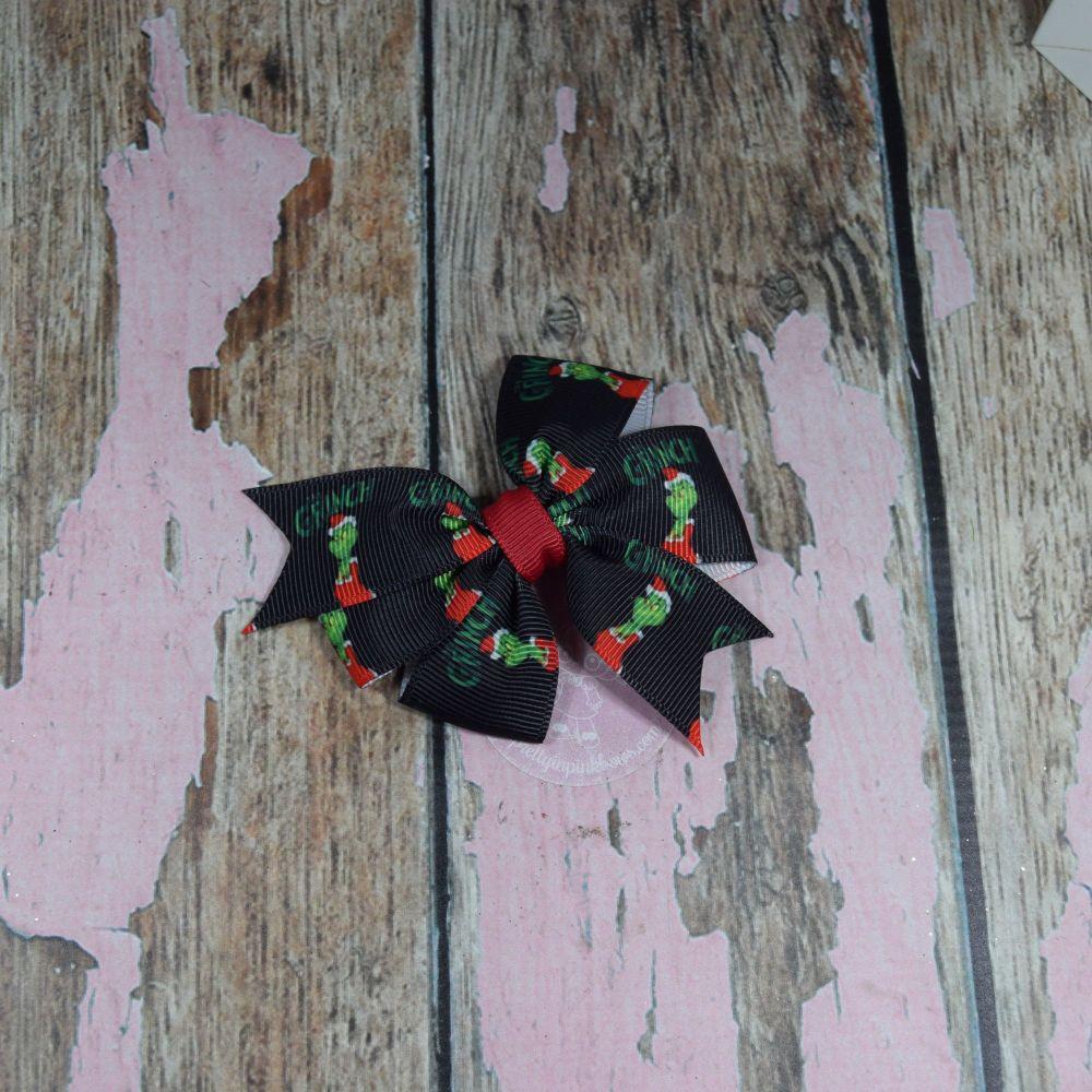 Black The Grinch Pinwheel Bow