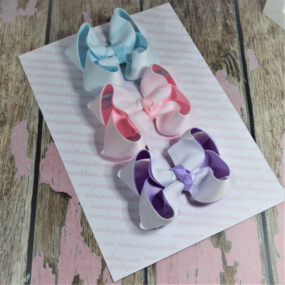 Unside out Double Layer Boutique Bow Set White with Pink, Lilac & Blue